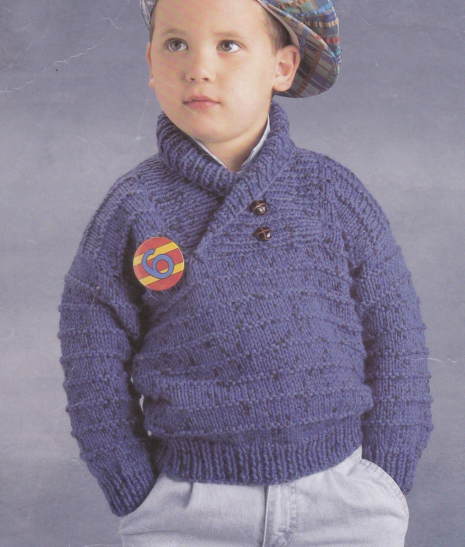 Vintage knitting pattern boys chunky sweater shawl collar