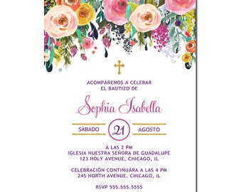 Invitación Primera Comunión, Invitación Bautizo, English, Spanish Girl Floral Baptism Invitation, Christening, Dedication, First Communion