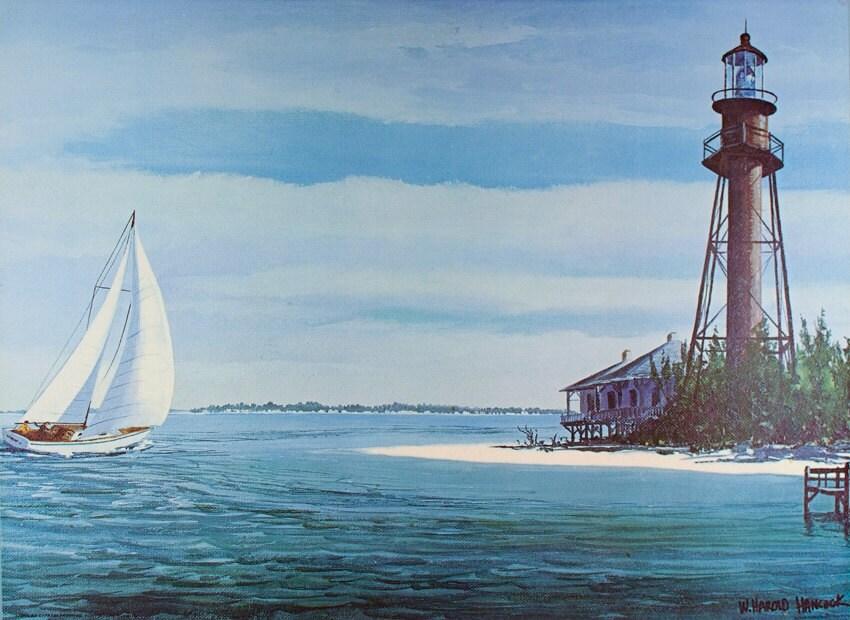 Sanibel Island Art Print Sanibel Lighthouse Print Florida Art Vintage Florida Florida