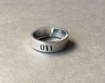 011 - Eleven - Stranger Things Inspired - Ring Hand Stamped Aluminum Ring
