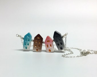 Colorful, dainty house beads pendant 925 sterling silver necklace, handmade polymer clay jewelry, gift for her