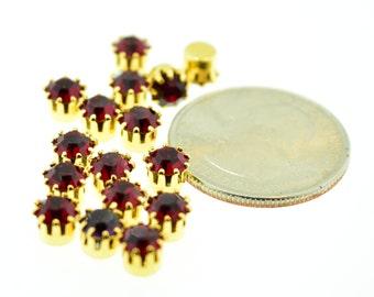 12 Piece Lot Swarovski Rhinestone 24ss Siam Ruby Red Rhinestone in Single Gold Plated Brass Setting Vintage
