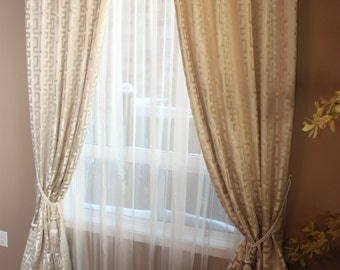"Custom Drapes ""Vinco"", Pinch Pleated, Geometric Drapes, Drapery Panels, Made-to-Order"