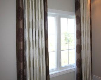 "Custom Drapes ""Medallion"", flower patterned drapes with borders, Grommet Panels, Drapery Panels, Made-to-Order"