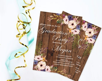 Rustic Barn Wood and Floral Graduation Invitation, Watercolor Graduation Open House Party, High School Graduation, College Graduation Invite