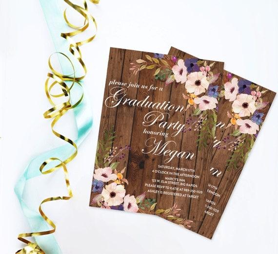 rustic barn wood and floral graduation invitation watercolor