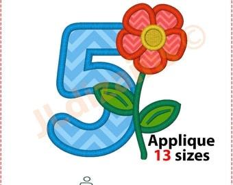 Number five applique design. Machine embroidery design - INSTANT DOWNLOAD - 13 sizes. Number 5 applique. Number five embroidery. Applique