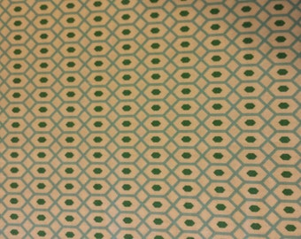 Fat Quarter Green Hexagons on pale  background