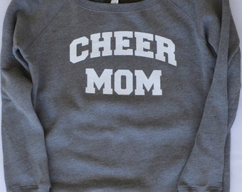 Cheer Mom Off the Shoulder Sweatshirt. Jersey.  Cheerleading.  Sports Mom. Oversized. Slouchy
