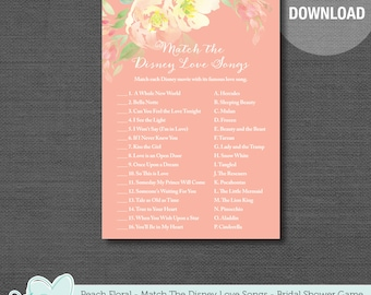 Match The Disney Love Songs Bridal Shower Game Printable Peach Floral, Instant Download, Flowers, Lingerie Shower, Bachelorette Party, 12F