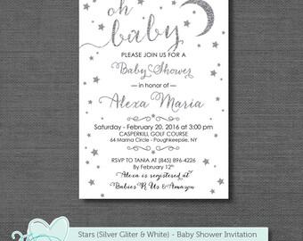 Silver Glitter and White Stars Baby Shower Invitation Printable, Gender Neutral, Boy, Girl, Invite, Twinkle Twinkle Little Star, 5S