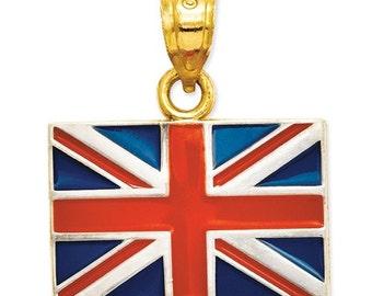 14K Yellow Gold with Enamel United Kingdom UK Flag Pendant Charm LKQK870