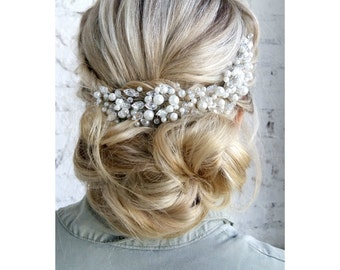 Pearl Bridal Headpiece, Pearl Bridal Hair Comb, Bridal hair piece, Wedding headpiece, Wedding hair comb, Wedding hair piece