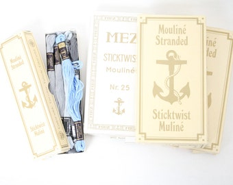 Vintage embroidery thread MEZ Mouline embroidery handmade yarn Anchor Yellow Blue White