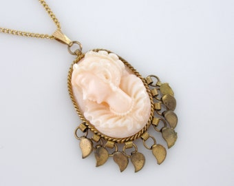 Vintage Unique Glass Cameo Brass Pendant Necklace