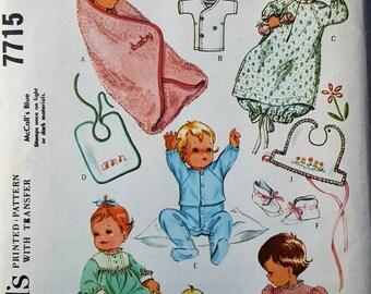 Vintage baby girl layette pattern hooded towel undershirt sleep sack pajamas dresses bibs embroidery transfer McCalls 7715