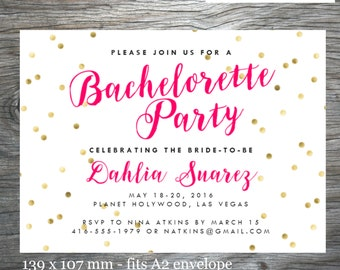 Bachelorette Party Invitation Printable or E-Invitation, Gold Confetti with Pink Script, Customized, Ready to Print/Send by Email