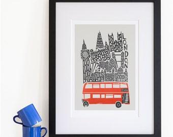 London Print, City Skyline Art, Red Bus, Double Decker, Big Ben Clock, Illustration Poster, Home Decor Wall Art, Travel Art, European