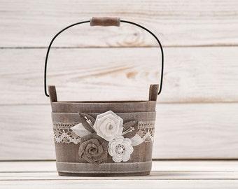 Shabby Chic Flower Girl Basket Wedding Flower Girl Basket Wedding Bucket Rustic Basket  Bridal Basket Flower Bucket Flower Girl Pail