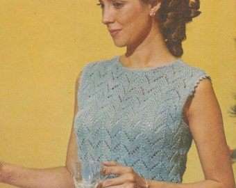 Knitting pattern sweater top blouse vintage 1969 1960s instant download
