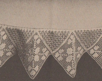 Crochet clover vintage tablecloth pattern border edging 1969 1960s instant download