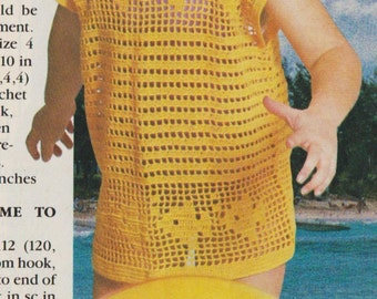 Crochet little girls swin cover up vintage 1990 instant download