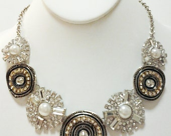 Silver, Black and Crystal Clear Pearls Necklace / Silver Chain Bib Necklace.