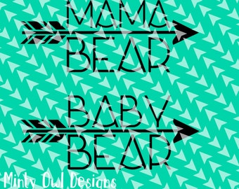 Cricut SVG - Mama Baby Bear SVG Cut File - Arrow - Tribal - Mama Shirt - Matching Mama Baby - Mom To Be - Silhouette