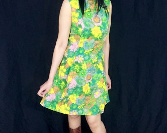 Vintage 60s Mod Tammy Andrews Flower A-line Mini Dress M // S