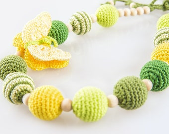 Butterfly Nursing Necklace, Spring Summer Green Teething Necklace, Organic Baby Toy, Breastfeeding & Babywearing, Nursing Jewelry with Toy
