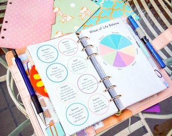 LIFE BALANCE WHEEL Filofax Personal Size Printable pdf Organizer Monthly Wheel of Balance Color Crush Insert. Instant Download. 5 docs