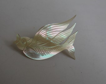 vintage carved mother of Pearl fish brooch