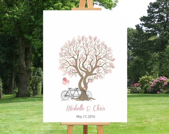 Tandem Bicycle Wedding Tree Guest Book Fingerprint Tree Keepsake Gift for Wedding Bridal Shower Guest Book Tree Thumbprint Guest Book -41677