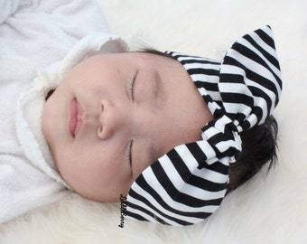 Black and white stripe baby headband, baby knot bow headband