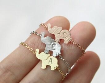 Elephant bracelet, Personalized Elephant jewelry, Initial bracelet, Animal bracelet, Animal jewelry, Friendship, Christmas gift, New years