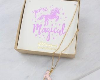 Unicorn Necklace – Pastel Pink & Gold – Personalized Jewelry