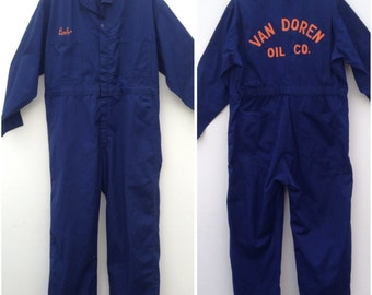 1960s vintage mechanic coverall / vintage workwear /united garment workers of america / sanforized / embroidery / canvas overall