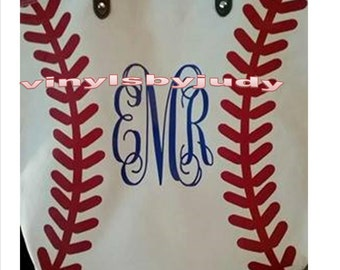 Canvas Baseball tote bag.
