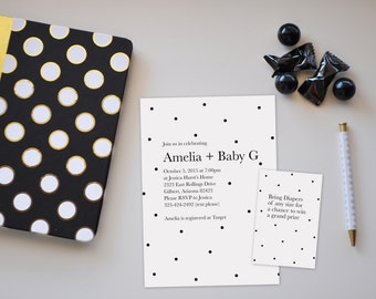 Polka Dot Baby Shower Invitation, Polka Dot Invite, Polka Dot Baby Shower, Baby Shower Invitation, Printable Invitation
