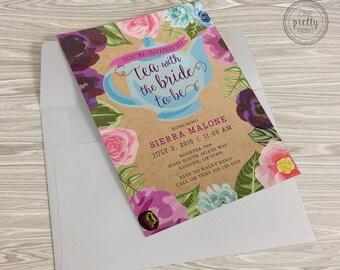 Floral Bridal Shower Tea Party Invitation on Premium Kraft Paper with White Envelopes