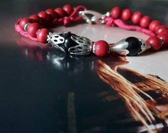 Red bracelet,Natural stone bracelet, Rainbow obsidian and rosewood mala beads bracelet, Gypsy bracelet, Root chakra bracelet