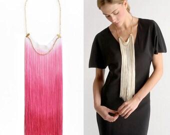 Pink Ombre Long Fringe Necklace, Statement Necklace, Bohemian Fringe Necklace, Ombre Fringe Necklace