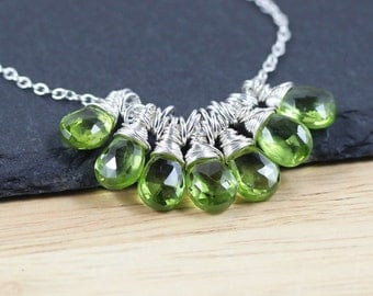 Peridot & Sterling Silver Cluster Necklace, Cluster Pendant. Green Semi Precious Gemstone Jewelry. Beaded Cluster Necklace. Jewellery