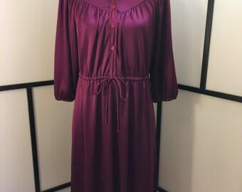 Purple Vintage Dress, Secretary Dress, Size Large, Button Up Dress, Eggplant Dress, Women's Vintage Dress
