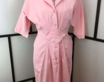 Mizz Lizz Women's Dress, 80s Pink Dress, Light Pink Denim Dress, 1980s Fitted Dress, Size Medium