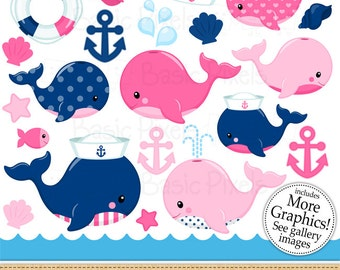 Nautical pink whales clipart- Digital Clip Art - Personal and commercial use