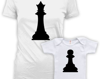 Mommy And Me Outfits Mother Son Matching Shirts Mother Daughter Outfits Mommy And Me Clothing Queen And Pawn Chess Baby Bodysuit DN-630-632