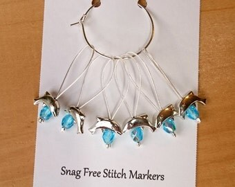 Knitting Stitch Markers, Snag Free Beaded Knitting Stitch Markers, Set of 6 silver plated Dolphin Bead stitch markers