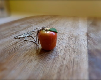 Polymer clay apple pendant