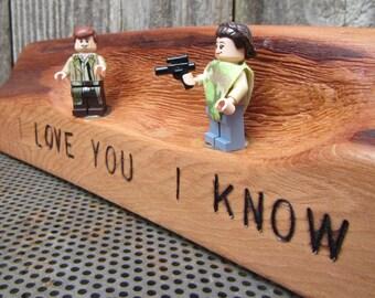 Star Wars I Love You - I Know- Han Solo and Princess Leia LEGO Minifigure Display - Funny I Love You Gift - Nerd Couple - Anniversary Gift